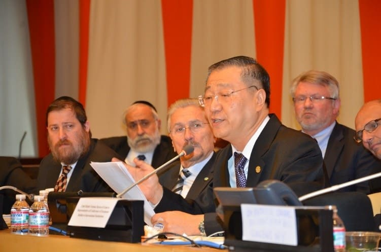 Master Lu speaks at a UN panel discussion on Culture of Peace as Conflict Prevention and Mediation.