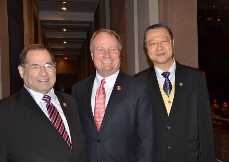 Master Lu with David P. Joyce (Member of Congress U.S.) and Jerrold Nadler (the U.S. Representative for NY)