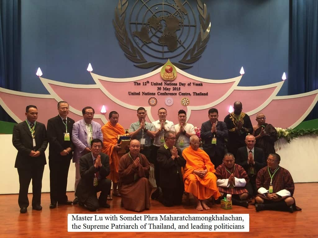 Master Lu with Somdet Phra Maharatchamongkhalachan, the Supreme Patriarch of Thailand and leading politicians