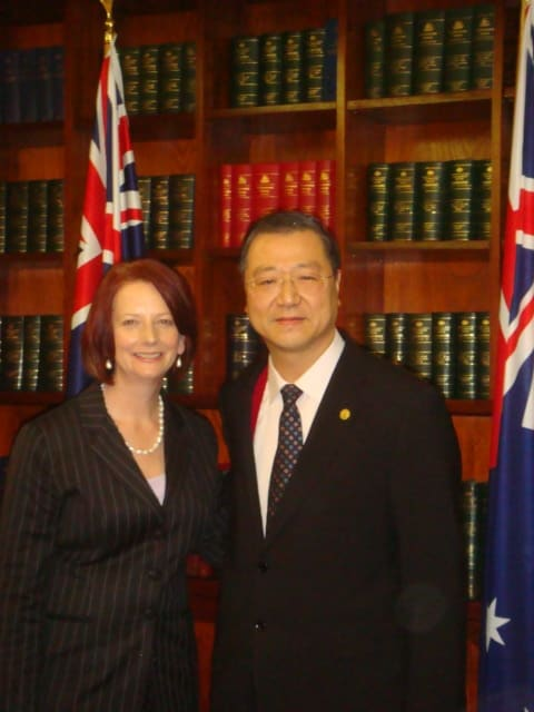 Master Jun Hong Lu and Julia Gillard (Former Prime Minister of Australia)