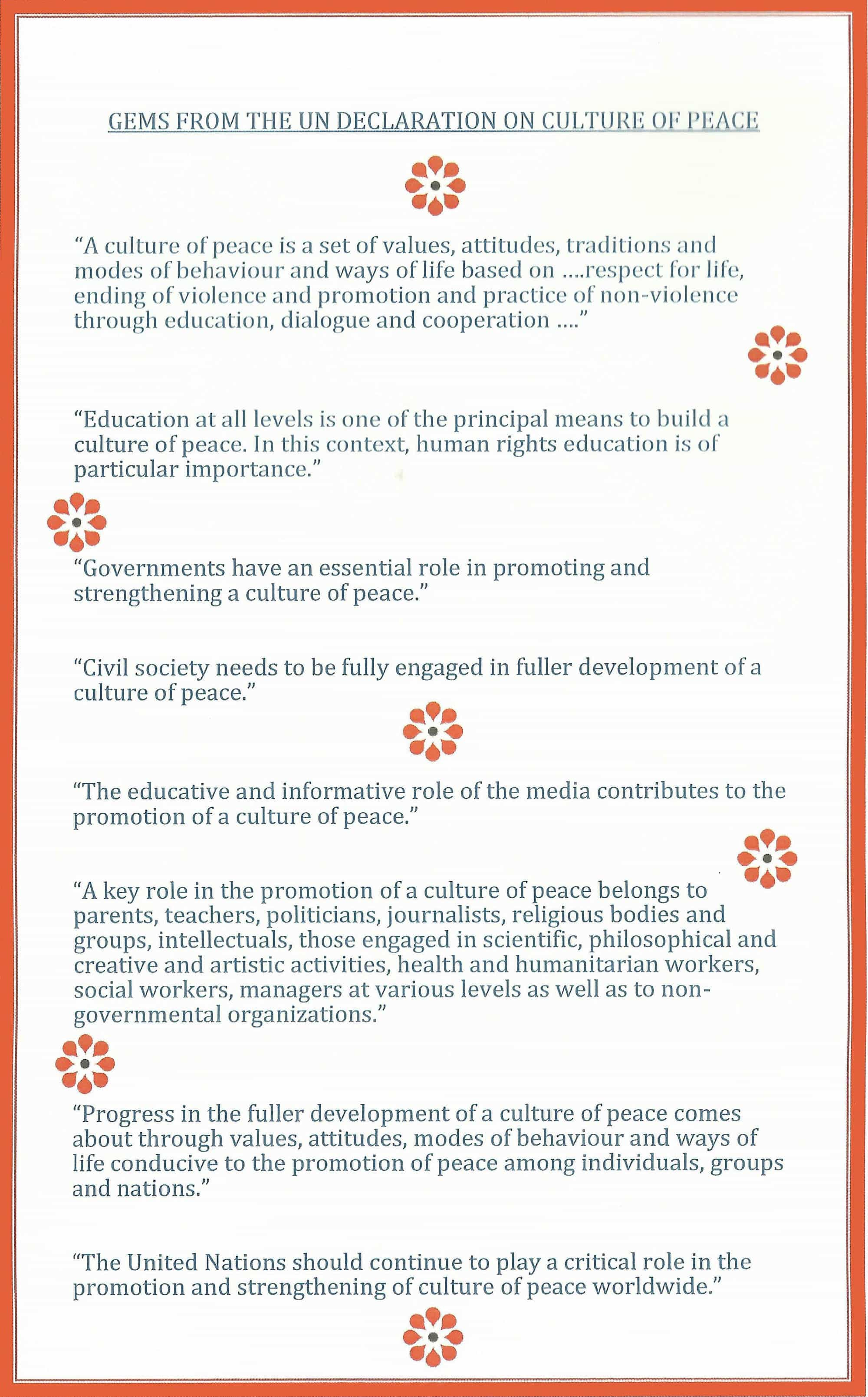 United Nations High Level Forum on The Culture of Peace- Back Cover