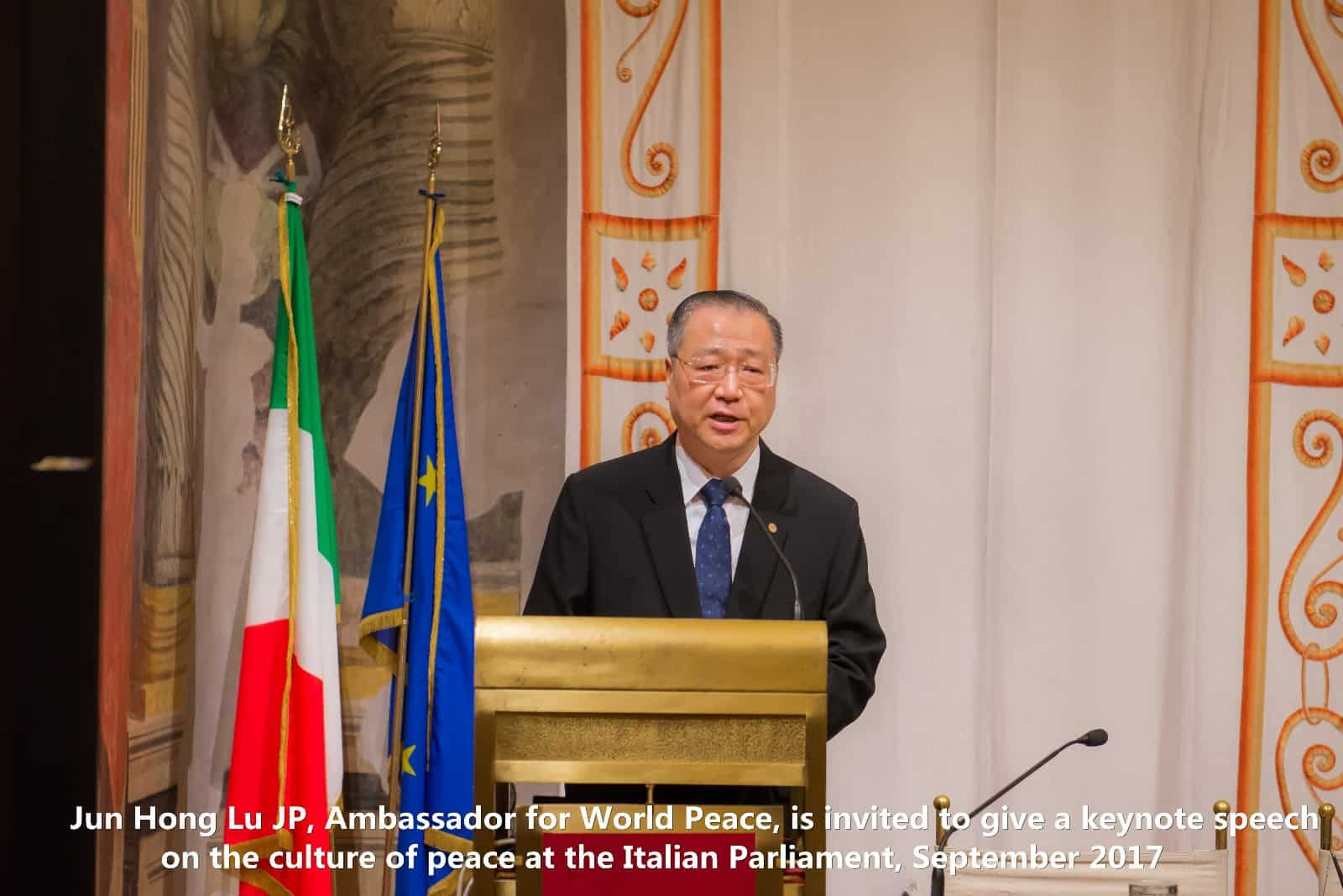 Master Lu is invited to give a keynote speech on the culture of peace at the Italian Parliament, September 2017