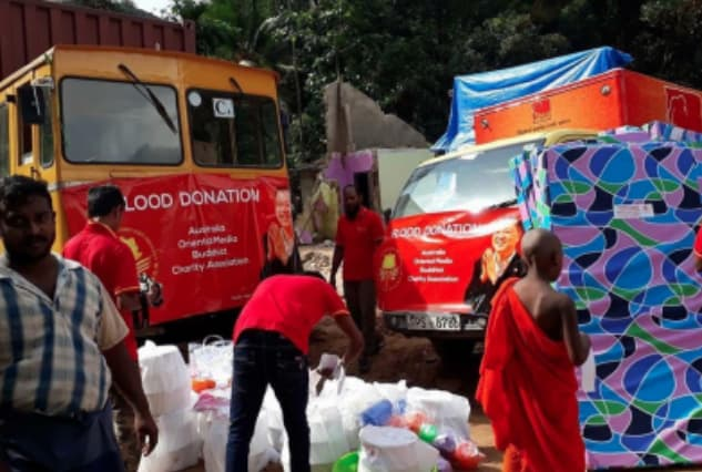 The Australia Oriental Media Buddhist Charity Association provides supplies to support the flood relief efforts in Sri Lanka